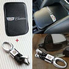 X1 For CADILLAC Car Center Armrest Cushion Pad Cover with Black Leather Keychain