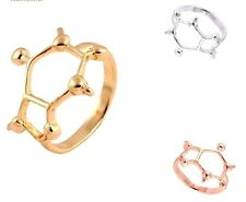 Silver Gold Plated Coffee Caffeine Caffiene Sign Molecule Ring in Gift Bag/Box