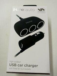 iHome IH-CT806B-AA USB Charger 12v Three CLA Sockets High Output Fast Charge