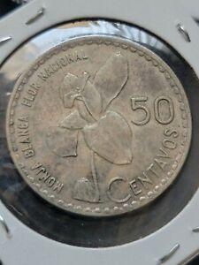 Guatemala 1963 50 Centavos Silver Coin +  AU