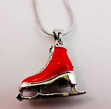 Red ice skating necklace rhinestones silver snake chain