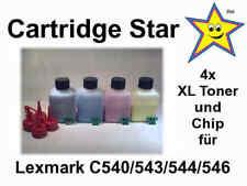 4x XL Nachfülltoner + Chip für Lexmark C540 543 544 546 (8500 S.)