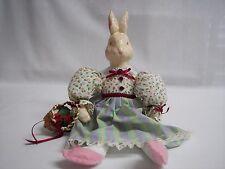 Rabbit Doll Shelf Sitter Ceramic Head, Hands & Body Handmade Clothing
