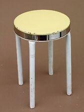 Ancien mobilier TABOURET de poupée métallique JOUET vintage JAUNE jeu années 60