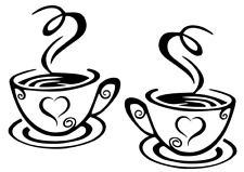 2 x Coffee Cup Kitchen Wall Art Vinyl Decal Sticker Diner Cafe Coffee Shop