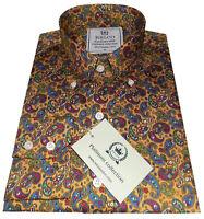 Relco Mens Yellow Mustard Paisley Long Sleeve Platinum Shirt Button Down Collar