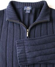 Brooks Brothers Navy Rib Knit Full Zip Cardigan Sweater 100% Lambswool XL