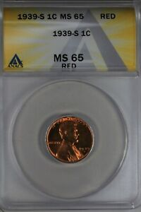 1939-S  .01  ANACS  MS 65 RED  Lincoln Head Cent, Lincoln One Cent