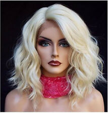 "14"" Women Lace Front Wig Ash Blonde Bob Wavy Synthetic Heat Resistant Hair"