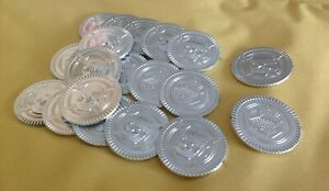 20 Silver Plastic Pirate Treasure Coins