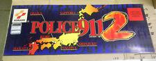 "27 1/2-10 1/2"" POLICE 911 2 KONAMI   vintage arcade game sign marquee cshfl"