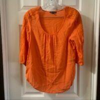 Unique Spectrum Women's Orange Textured 3/4 Sleeve Blouse size Medium