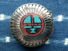 Steel Metal And Turquoise Navajo Belt Buckle