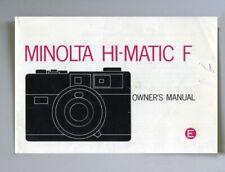Minolta Hi-Matic F Instruction Manual Original