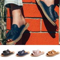 Women's Faux Leather Slipper Sandals Flat Flip Flops Mules Shoes US Size 4.5-11