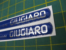 2 DOMED Design Giugiaro STICKERS Silver on blue