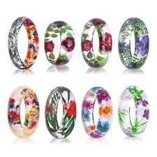 Womens Clear Resin Natural Real Dried Flower Plant Bracelet Bangle Jewelry Best