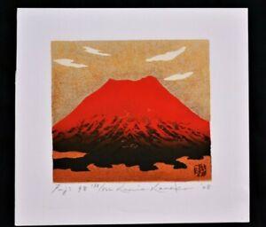 LIMITED EDITION JAPANESE WOODBLOCK PRINT BY KUNIO KANEKO RED MOUNT FUJI 98