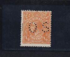1918 Australia KGV 1/2d orange single wmk SG O66 OS perfin fine used