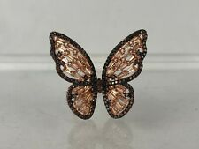 NEW Butterfly Ring 18k Rose Gold Plated Sterling Silver Champagne Brown CZ Sz 7