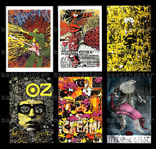 MARTIN SHARP Set of Psychedelic Posters on Postcards Jimi Hendrix Bob Dylan Oz