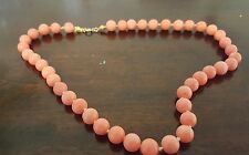 vtg Natural salmon pink Coral hand knotted beaded necklace antique  9ct gold 16""