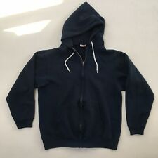 VTG 80s 90s Hanes Activewear Full Zip Hoodie Sweatshirt L Blue Cotton Blend USA