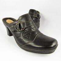 Clarks Artisan Mules Women's Size 10M Black Leather Buckle Slides Slip-Ons Clogs