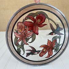 "Glassmasters Iris & Hummingbird Stained Glass Suncatcher 10"" Circle w/Chain Vtg"