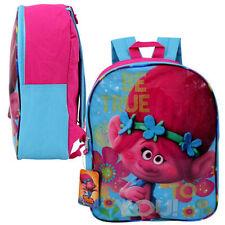 "15"" Backpack TROLLS Poppy Floral Kids Girls School Pink BookBag Bag Dreamworks"