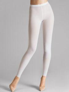 Wolford NWT 7005 White Full Length Velvet 66 Leggings Size M