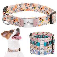 Blumen Hundehalsband mit Hundemarken Personalisiert Namen Telefon Gravur S M L