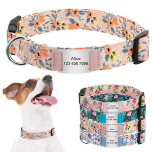 Floral Dog Collar With Personalized Slide On Tags Laser Engraved ID Name Custom
