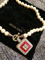 Heidi Daus Necklace New w/satchel. Cultured Pearl, Red Crystal & Toggle Clasp
