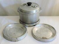 Antique Vintage Aluminum Pot Pan Economy Health Ware w/ Heat Filters