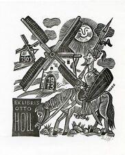 Don Quixote, Quijote, Ex libris Bookplate by Huffert