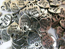 MADE WITH LOVE Charm Tags HEART Nickel (Qty-20) 12mm