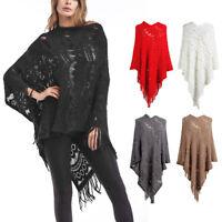 Women Batwing Cape Poncho Top Tassel Pullover Sweater Knit Coat Outwear Jacket