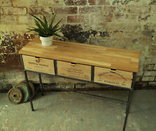 Industrial Rustic Console Table with Reclaimed Wine-Box Drawers