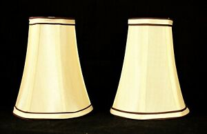 PAIR OF BULB CLIP Chandelier or Wall Sconce Lamp Shades Ivory Satin 6.5 In Tall