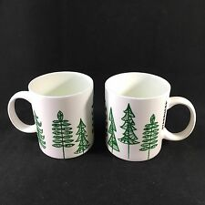 Pair 2015 Starbucks Coffee Mugs Christmas Tree Design Green White