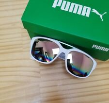 Puma White Pink Plastic Sunglasses w/ Mirror Lenses Brand New Tags $139