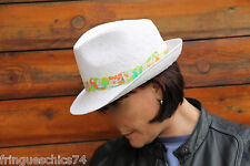 joli chapeau blanc fleuri PAUL & JOE SISTER modèle palila T 58 NEUF ÉTIQUETTE
