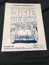 Konami Jailbreak Video Arcade Original Service Manual