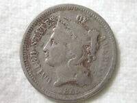1865 U.S 3 Cent Nickel Piece Very Fine