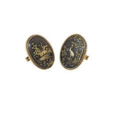 Gold Cufflinks Antique Shakudo Yellow