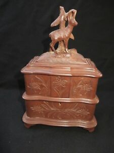 Antique Victorian Black Forest Carved Wood Stag Jewelry Box W/Key. Very Nice!!!!