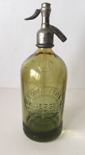 Vintage Argentina Seltzer SODA Bottle  Light Green D.M BERGESE one liter