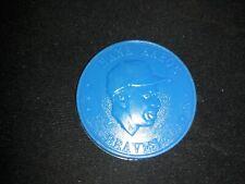 1960 Armour Hank Aaron Blue Plastic Baseball Coin - Milwaukee Braves