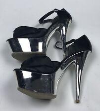"Xhilaration Platform Stiletto Heels Womens Size 6 1/2 Black Silver Shoes 6"""